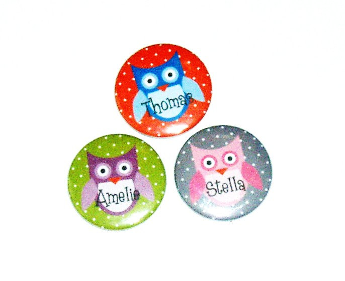 Pinback button badges - Owl name badges- 3 sizes