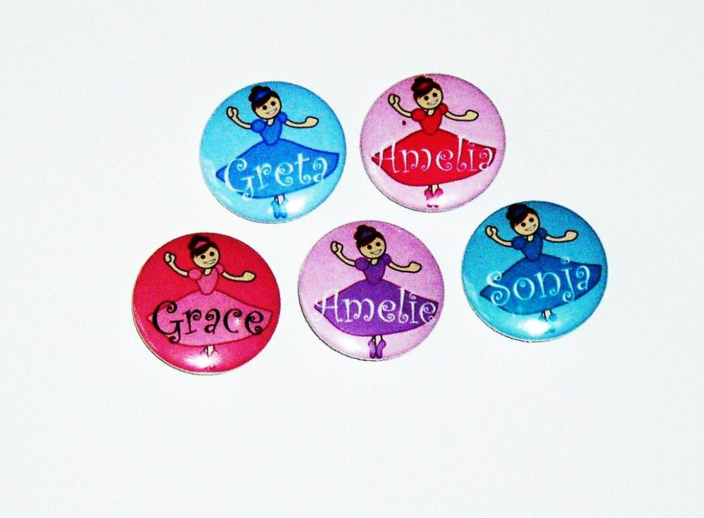 Pinback button badges - Ballet Dancers, Ballerina name badges - 3 sizes