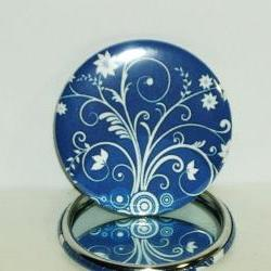Pocket mirror- Blue and White Floral