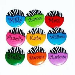 Pinback button badges - Zebra Stripe name badges - 3 sizes