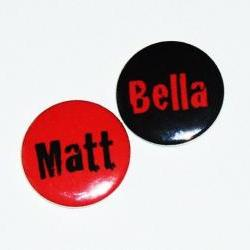 Pinback button badges - Grunge / Goth name badges- 3 sizes