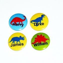 Pinback button badges - Dinosaur name badges - 3 sizes